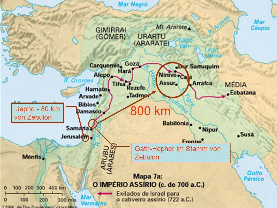 Japho - 80 km von Zebulon 800 km Gath-Hepher im Stamm von Zebulon