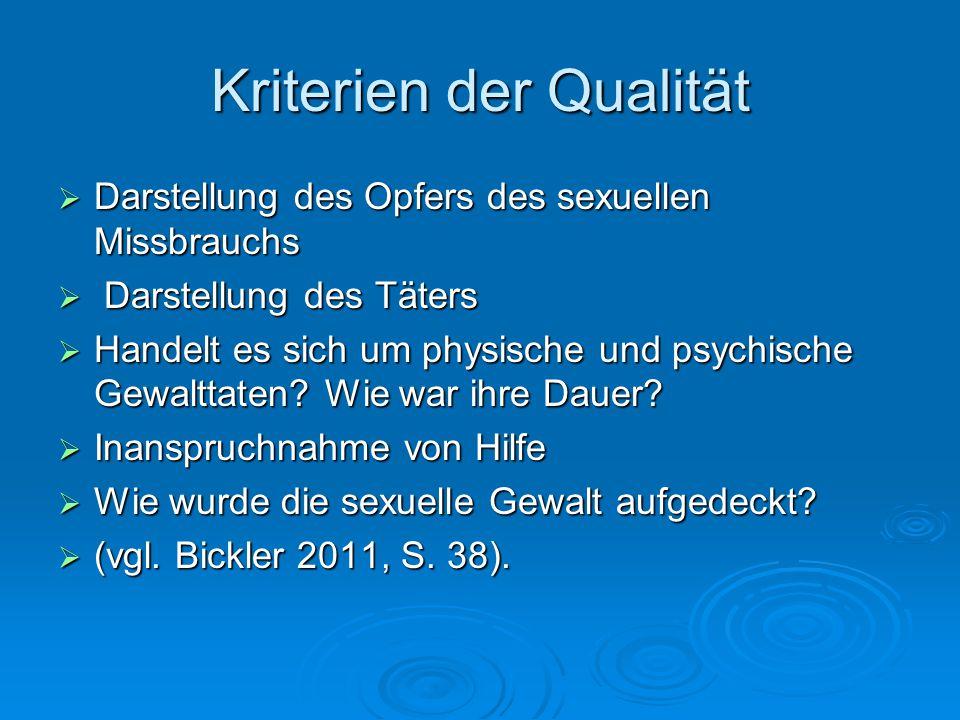 Kriterien der Qualität