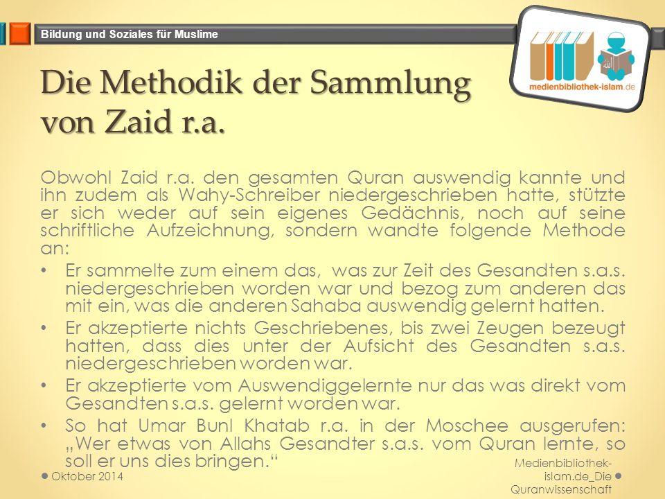 Die Methodik der Sammlung von Zaid r.a.