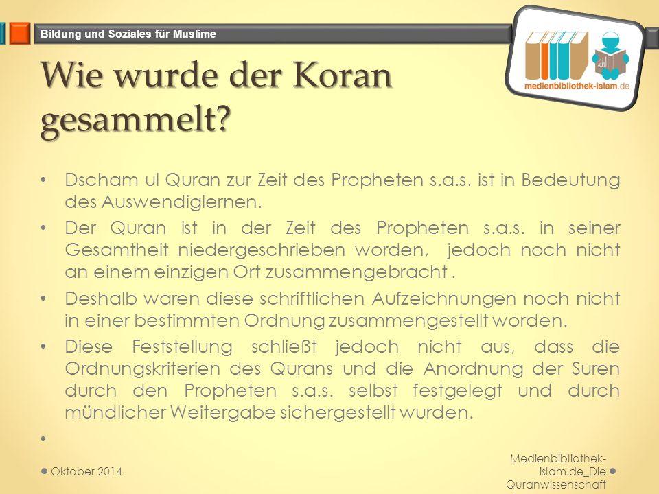 Wie wurde der Koran gesammelt