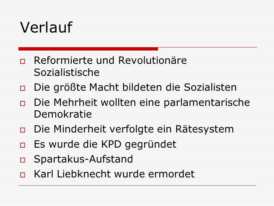 Verlauf Reformierte und Revolutionäre Sozialistische