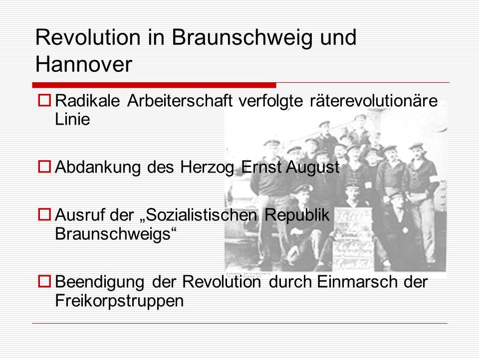 Revolution in Braunschweig und Hannover