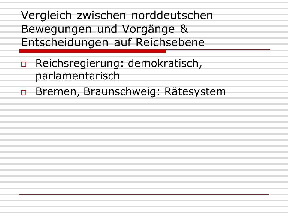 Vergleich zwischen norddeutschen Bewegungen und Vorgänge & Entscheidungen auf Reichsebene