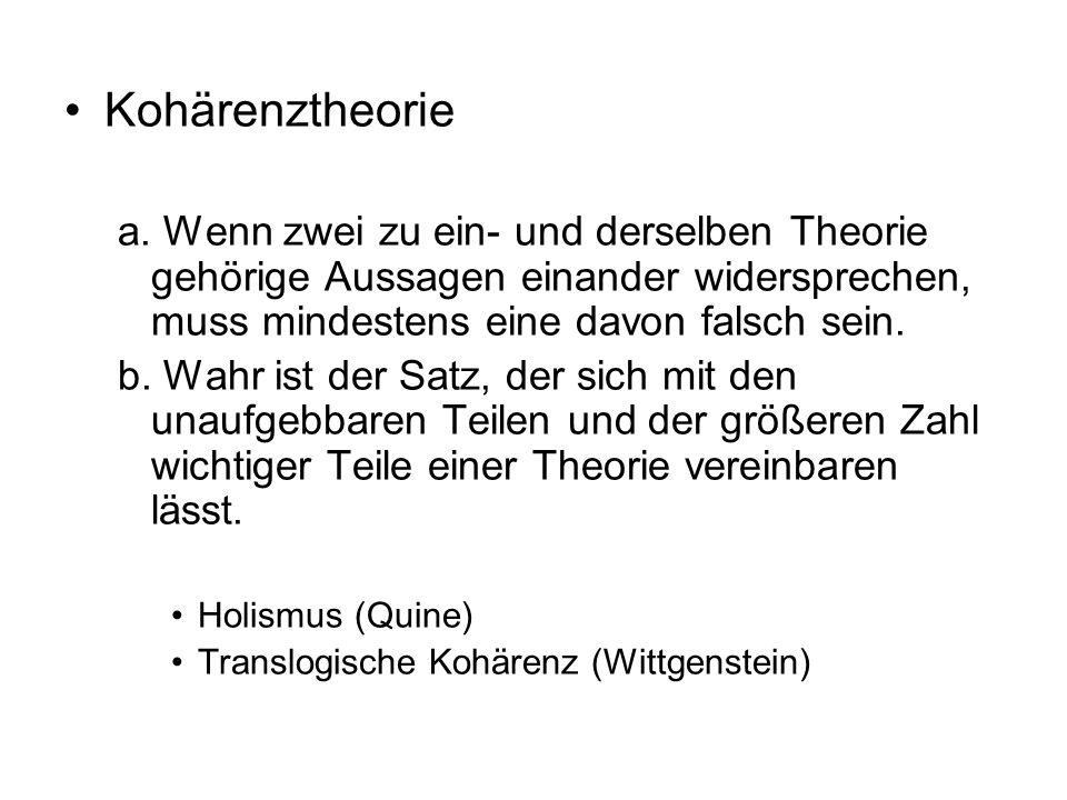 Kohärenztheorie a. Wenn zwei zu ein- und derselben Theorie gehörige Aussagen einander widersprechen, muss mindestens eine davon falsch sein.