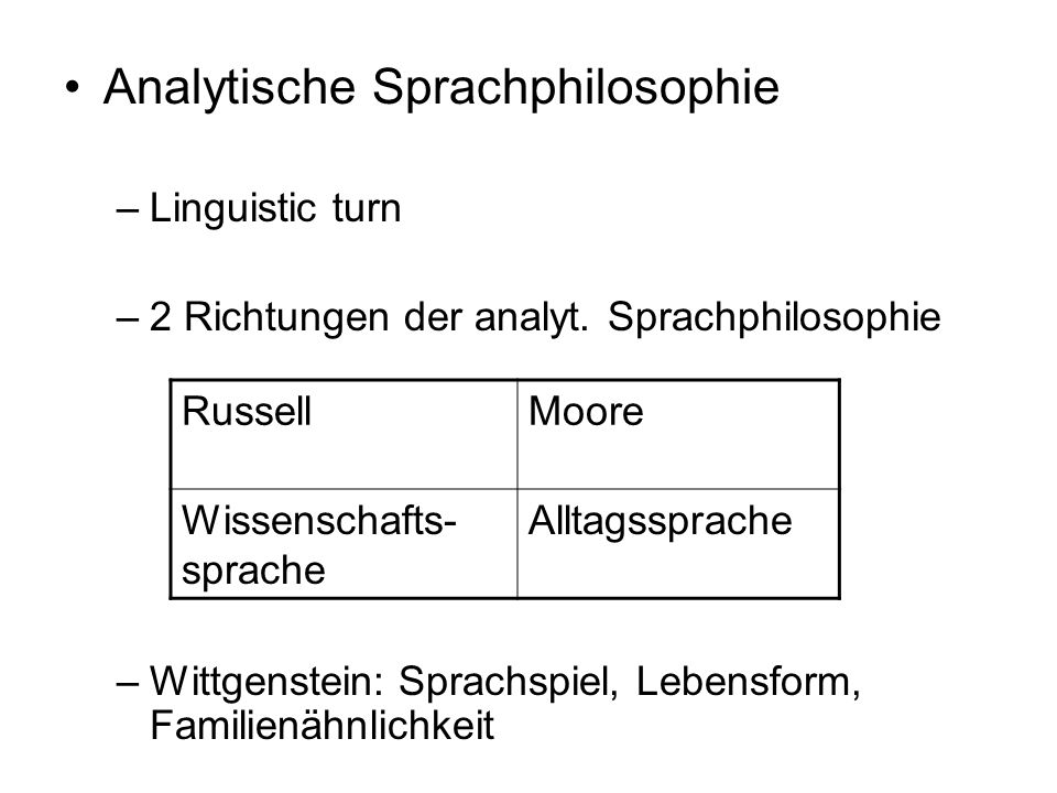 Analytische Sprachphilosophie