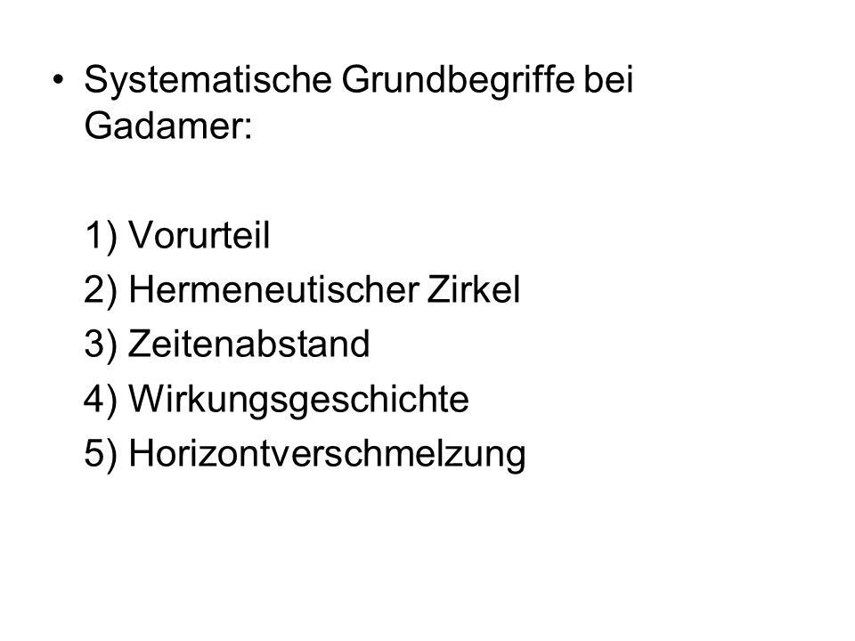 Systematische Grundbegriffe bei Gadamer: