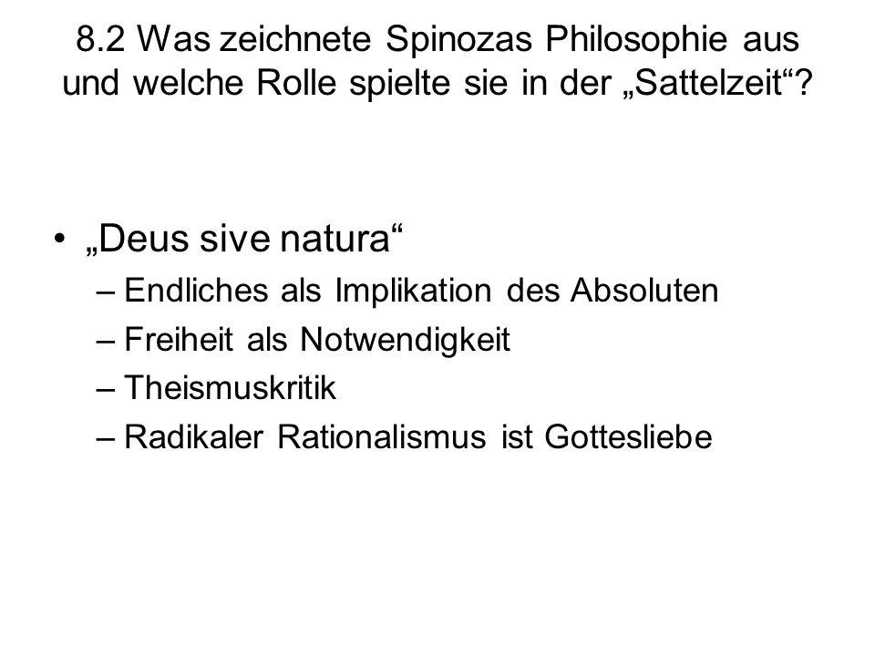 """8.2 Was zeichnete Spinozas Philosophie aus und welche Rolle spielte sie in der """"Sattelzeit"""