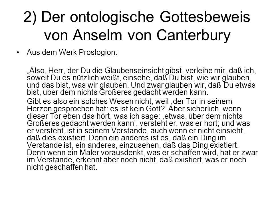 2) Der ontologische Gottesbeweis von Anselm von Canterbury