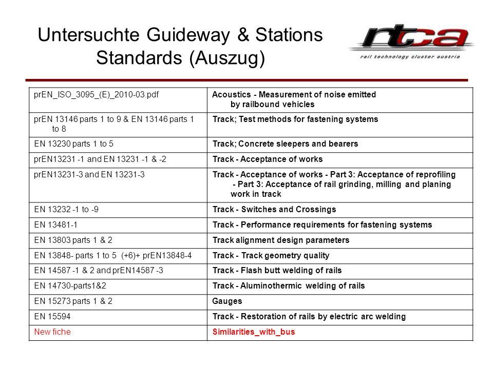 Untersuchte Guideway & Stations Standards (Auszug)