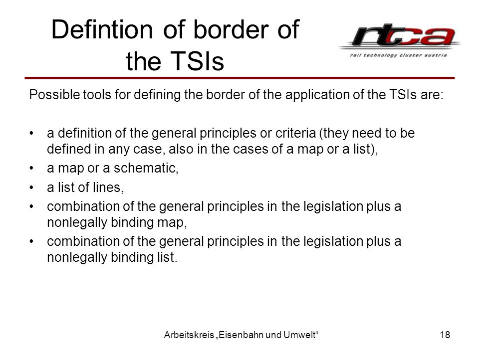 Defintion of border of the TSIs