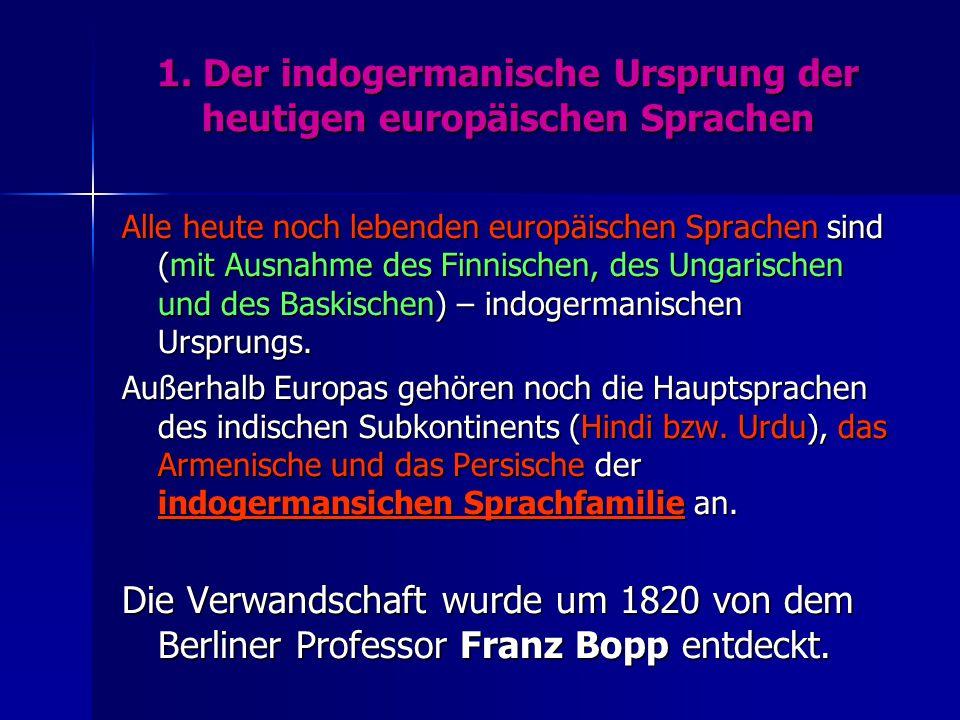 1. Der indogermanische Ursprung der heutigen europäischen Sprachen