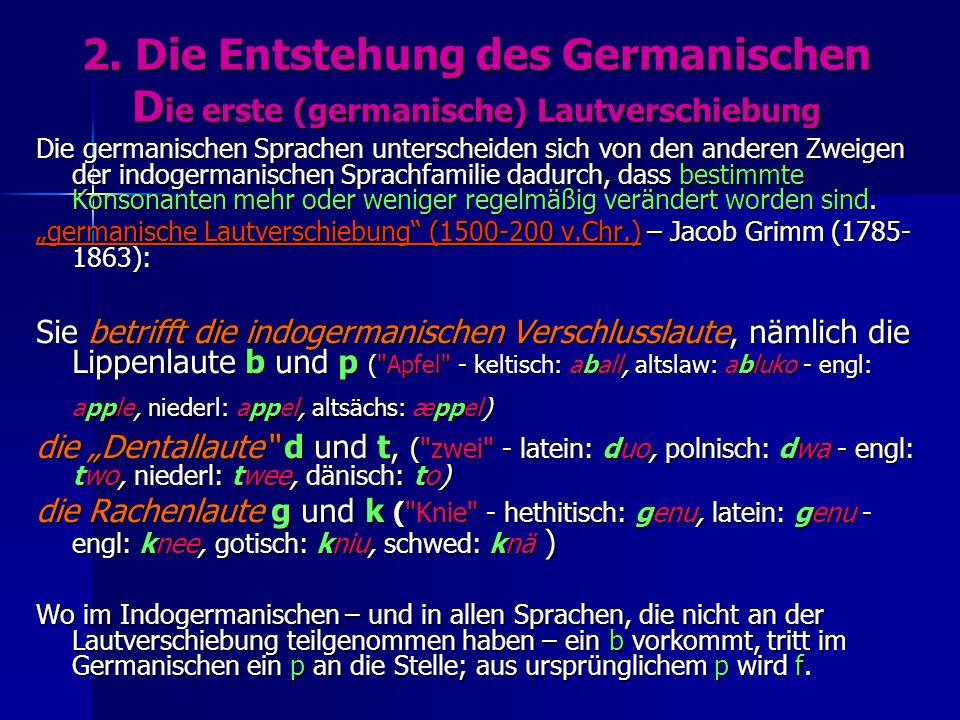 2. Die Entstehung des Germanischen Die erste (germanische) Lautverschiebung