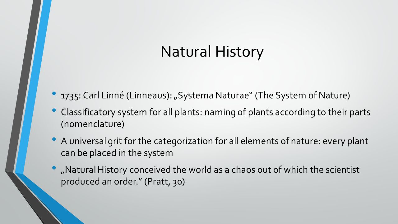 "Natural History 1735: Carl Linné (Linneaus): ""Systema Naturae (The System of Nature)"