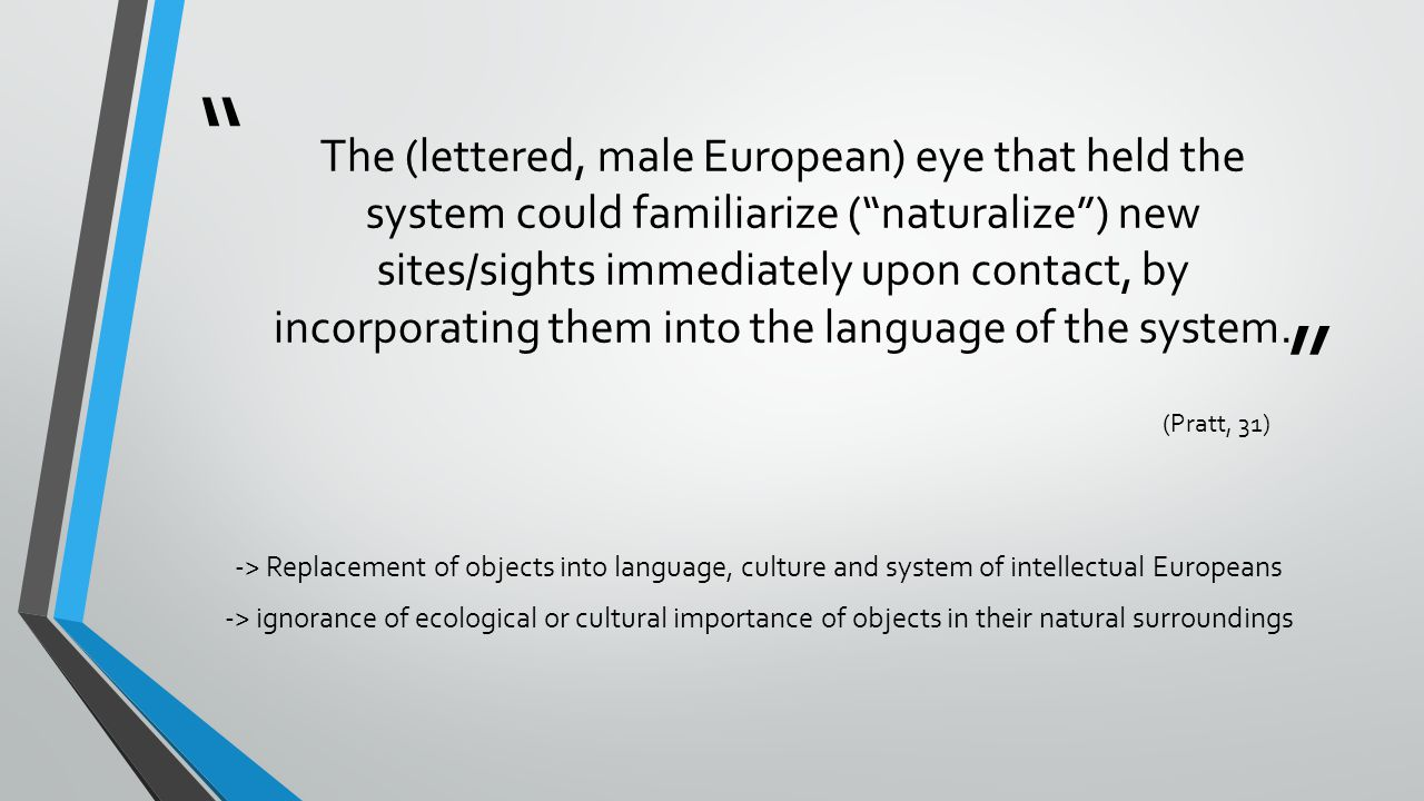 The (lettered, male European) eye that held the system could familiarize ( naturalize ) new sites/sights immediately upon contact, by incorporating them into the language of the system.