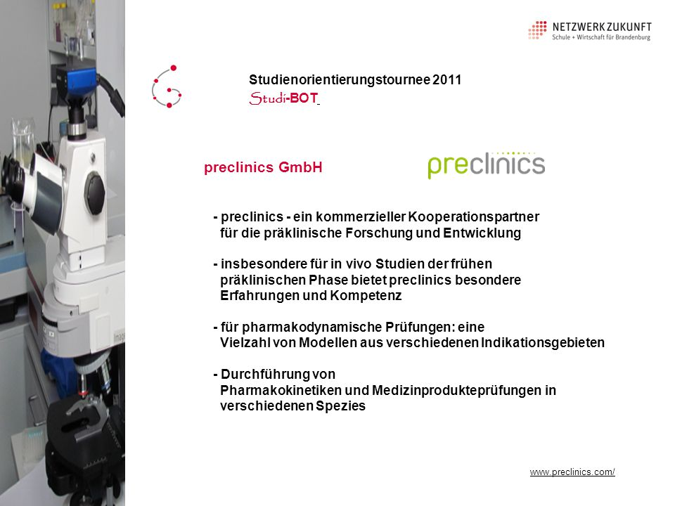 preclinics GmbH Studienorientierungstournee 2011 Studi-BOT