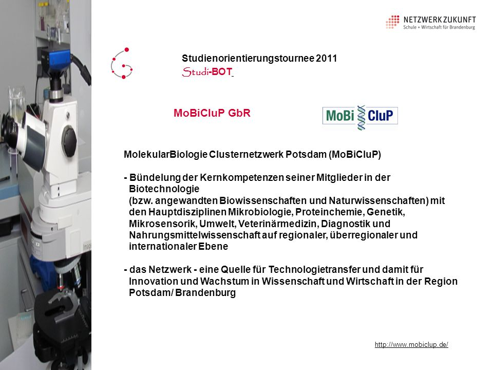 MoBiCluP GbR Studienorientierungstournee 2011 Studi-BOT