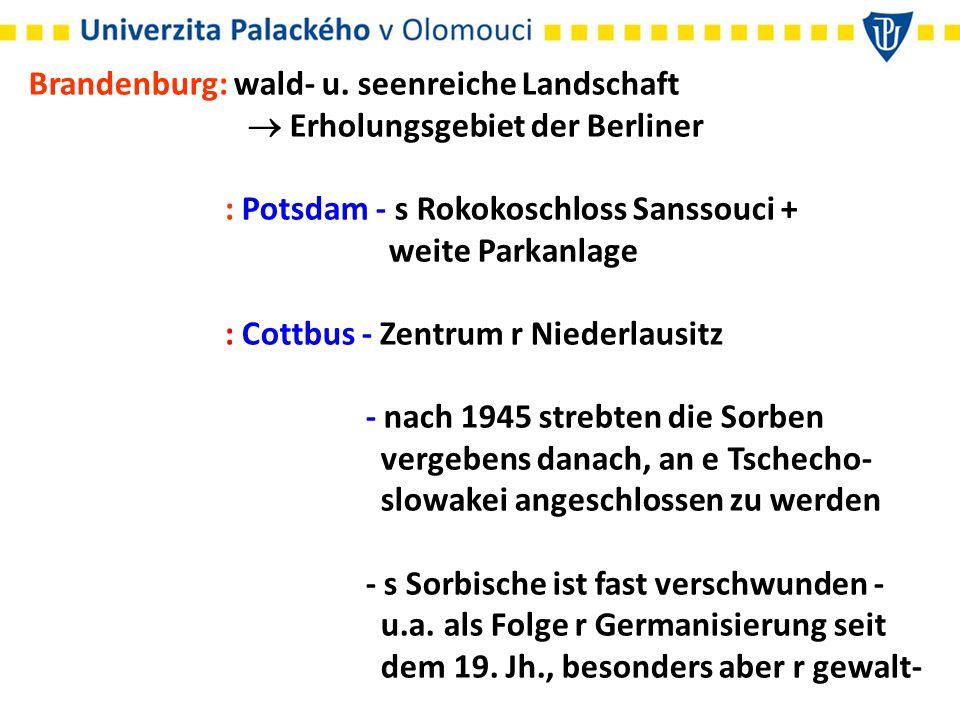 Brandenburg: wald- u. seenreiche Landschaft