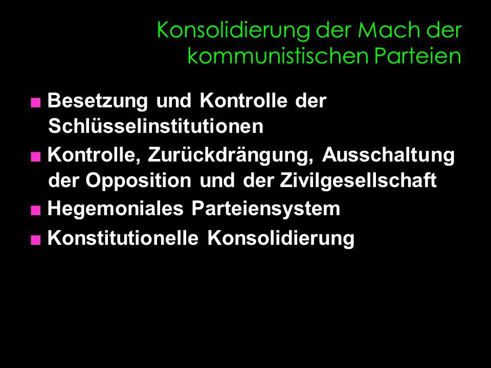 Konsolidierung der Mach der kommunistischen Parteien