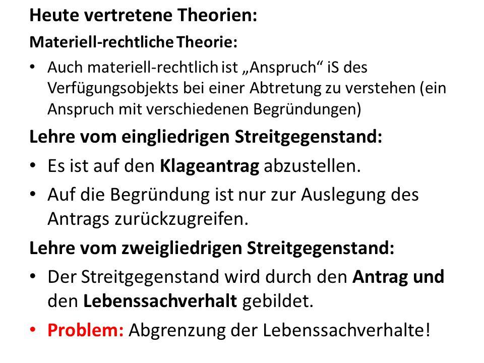 Heute vertretene Theorien: