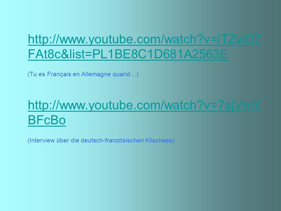 http://www.youtube.com/watch v=iTZwO7FAt8c&list=PL1BE8C1D681A2563E (Tu es Français en Allemagne quand…)