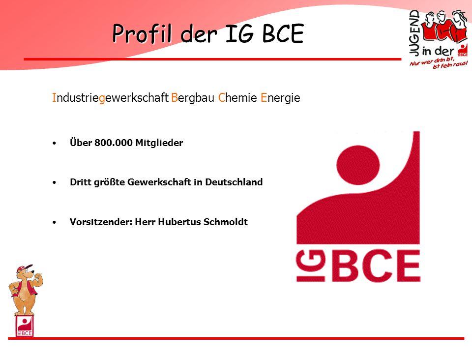 Profil der IG BCE Industriegewerkschaft Bergbau Chemie Energie