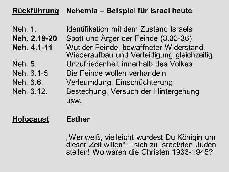 Rückführung Nehemia – Beispiel für Israel heute