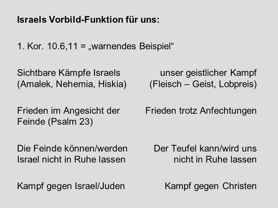 Israels Vorbild-Funktion für uns: