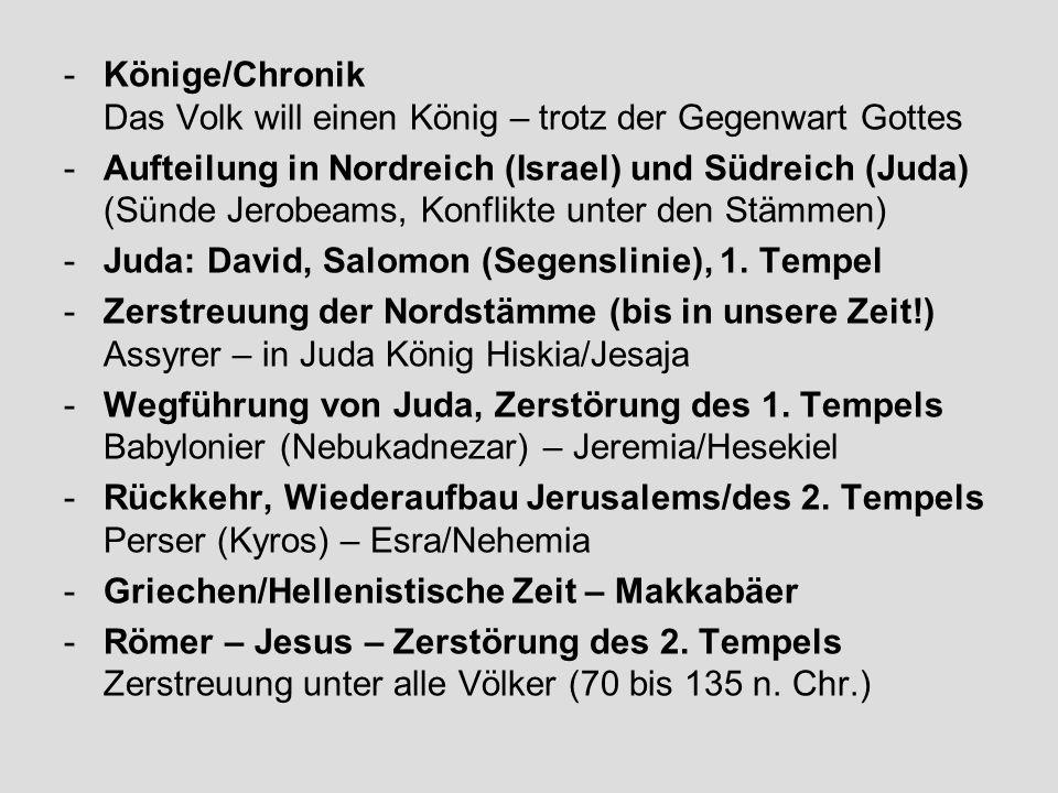 Könige/Chronik Das Volk will einen König – trotz der Gegenwart Gottes