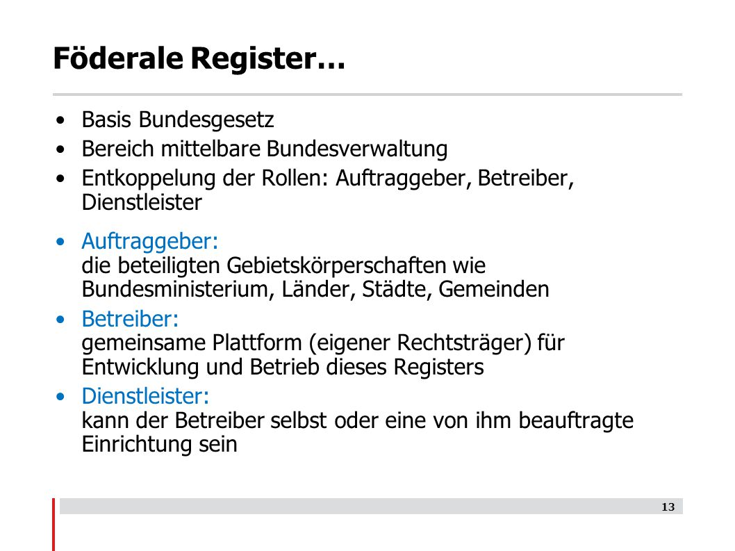 Föderale Register… Basis Bundesgesetz