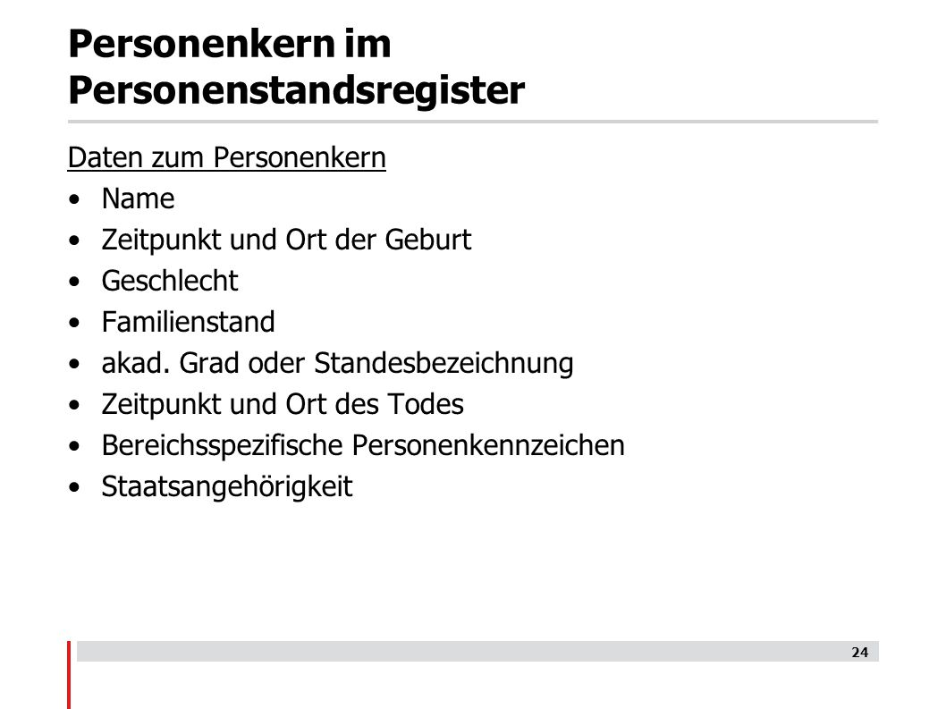 Personenkern im Personenstandsregister