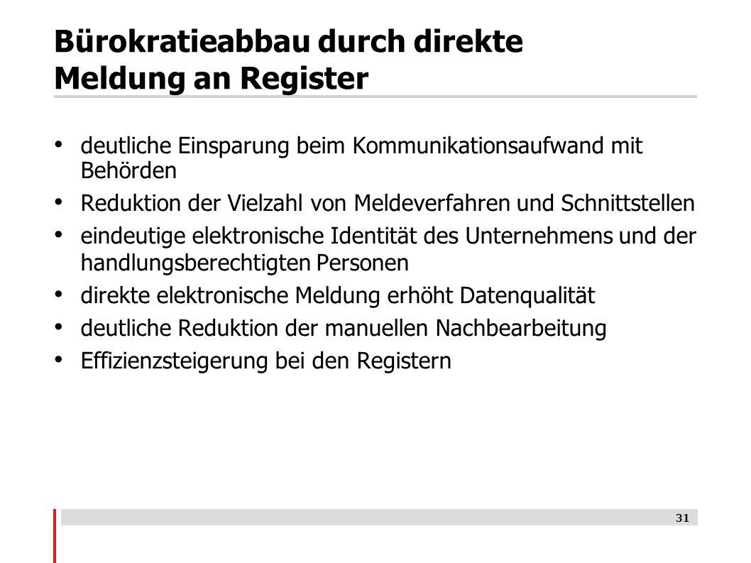 Bürokratieabbau durch direkte Meldung an Register