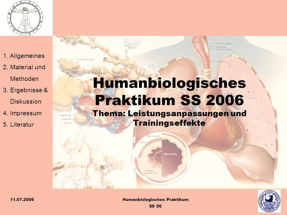 Humanbiologisches Praktikum SS 2006