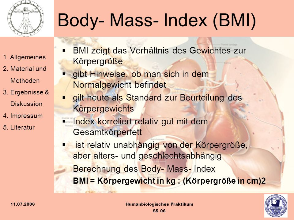 Body- Mass- Index (BMI)