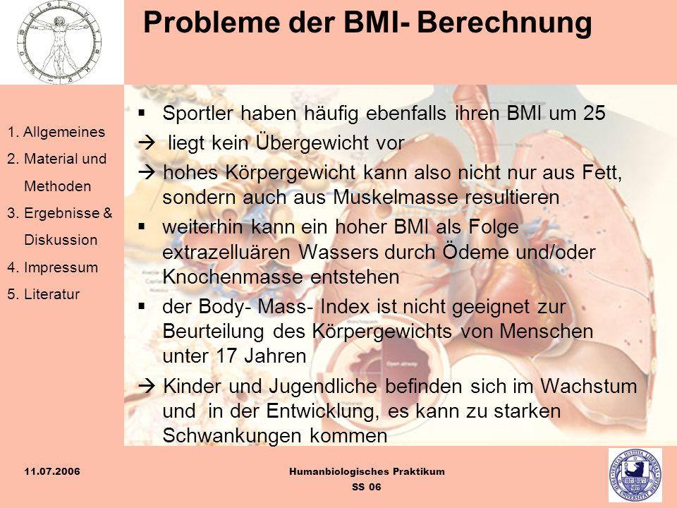 Probleme der BMI- Berechnung