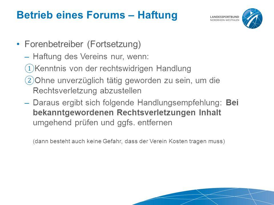 Betrieb eines Forums – Haftung