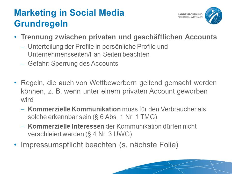 Marketing in Social Media Grundregeln