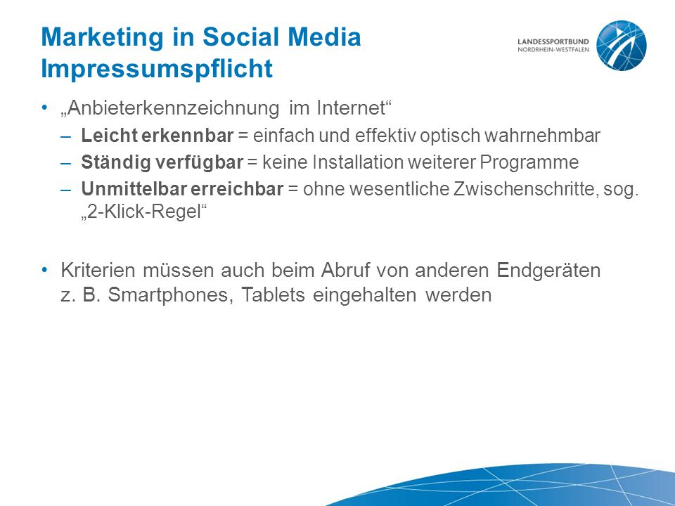 Marketing in Social Media Impressumspflicht