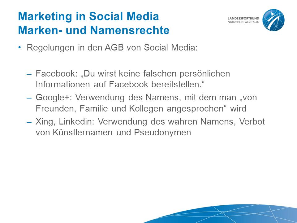 Marketing in Social Media Marken- und Namensrechte
