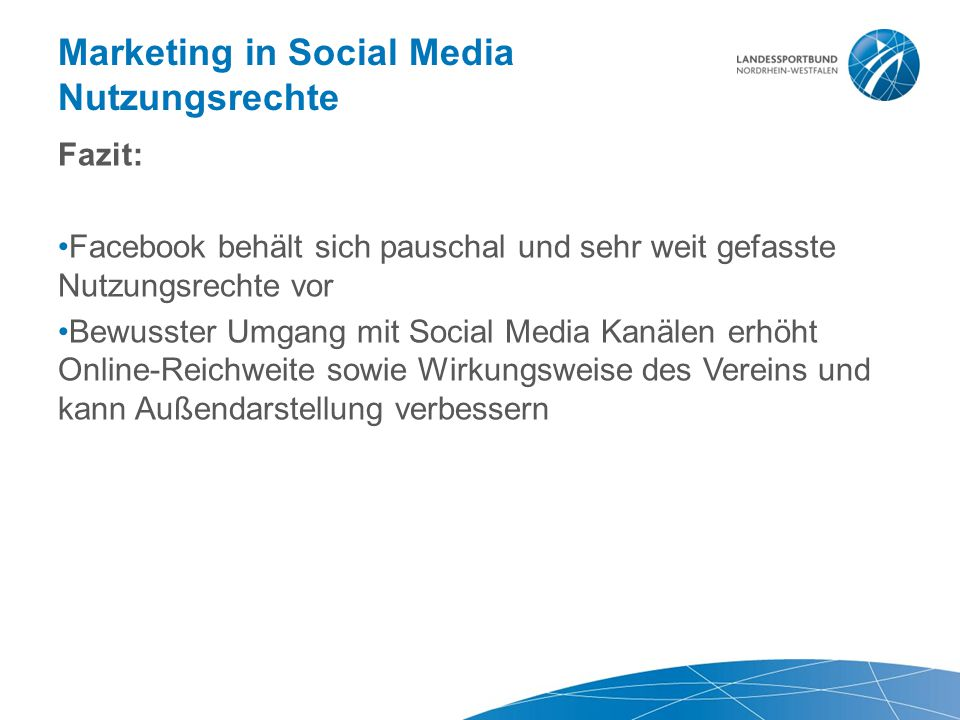 Marketing in Social Media Nutzungsrechte