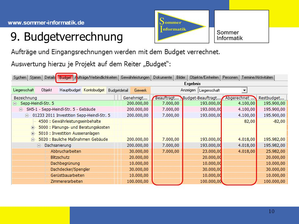 9. Budgetverrechnung Aufträge und Eingangsrechnungen werden mit dem Budget verrechnet.
