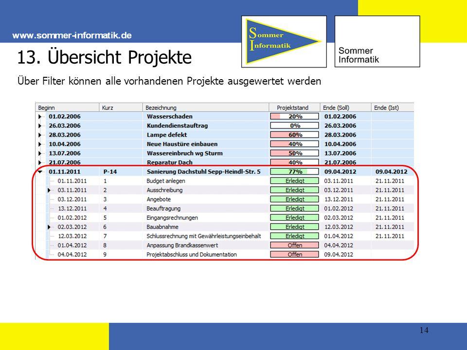 13. Übersicht Projekte Über Filter können alle vorhandenen Projekte ausgewertet werden