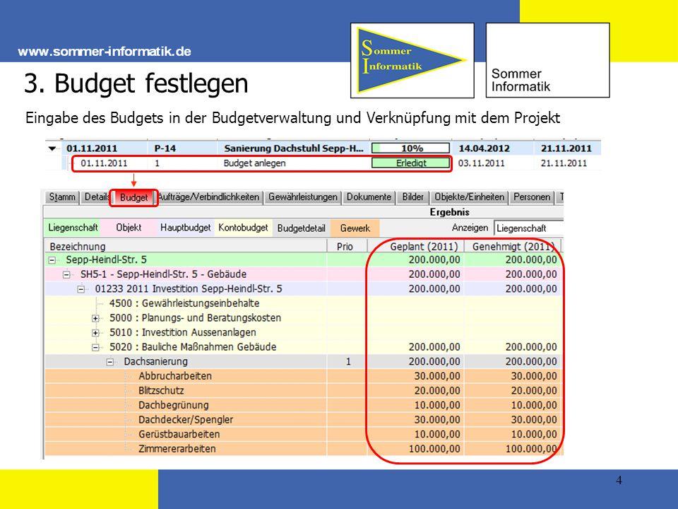 3. Budget festlegen Eingabe des Budgets in der Budgetverwaltung und Verknüpfung mit dem Projekt