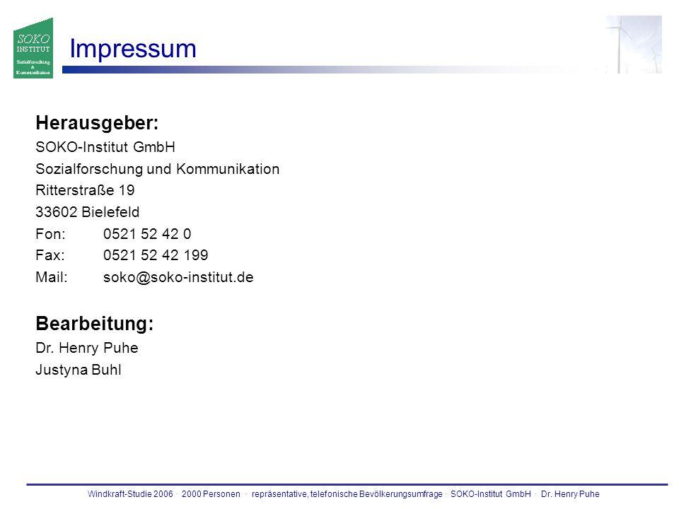 Impressum Herausgeber: Bearbeitung: SOKO-Institut GmbH