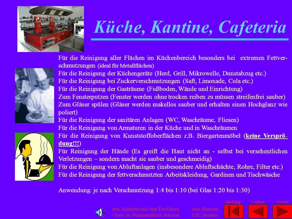 Küche, Kantine, Cafeteria