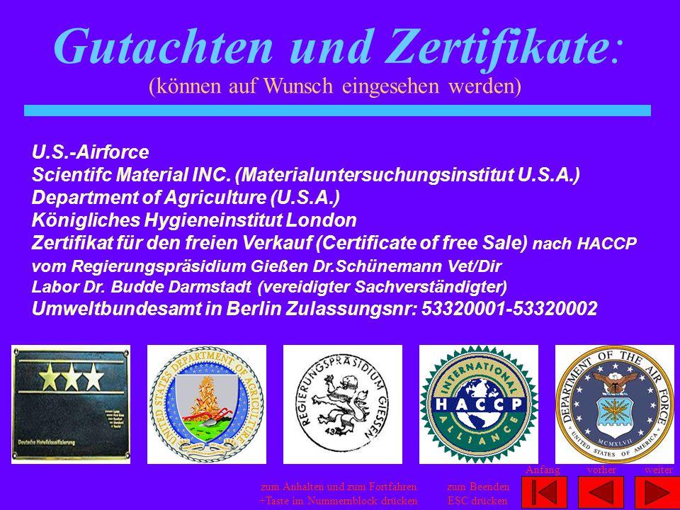 Gutachten und Zertifikate: