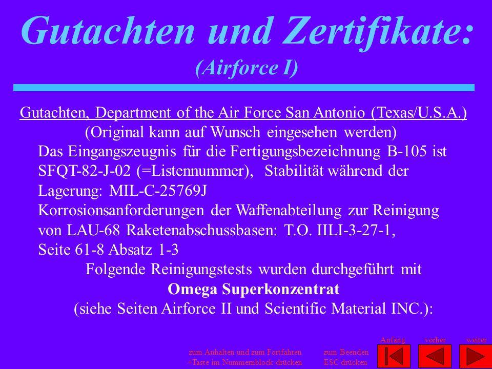 Gutachten und Zertifikate: (Airforce I)
