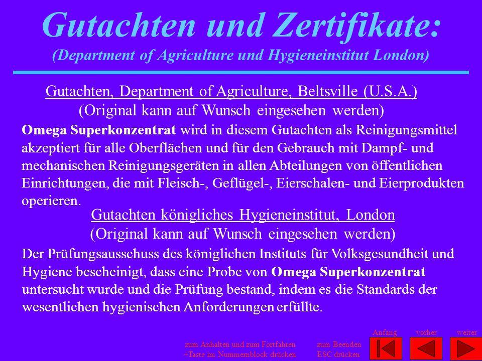 Gutachten und Zertifikate: (Department of Agriculture und Hygieneinstitut London)