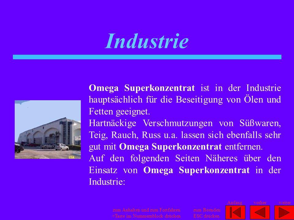 Industrie Omega Superkonzentrat ist in der Industrie hauptsächlich für die Beseitigung von Ölen und Fetten geeignet.