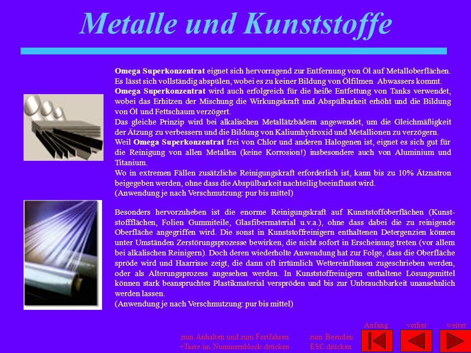 Metalle und Kunststoffe
