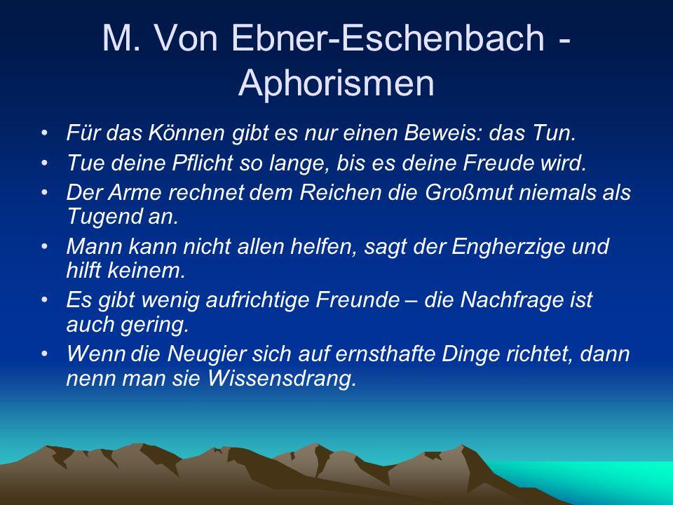 M. Von Ebner-Eschenbach - Aphorismen